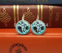 New 2015 handmade movie Doctor who Gallifreyan master dangle drop stud earrings 12mm  silver/ bronze steampunk jewelry for women