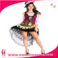 Free shipping cheap sexy fashion caribbean captain of pirate costume photos for women