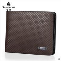 Brand 2015 wallet men nature cowskin leather fashion design money pocket high quality brown purse MBQ2412CK free shipping