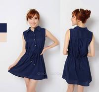 2015 New Fashion Women's Chiffon Sleeveless Turn-down Collar Short Dress Casual Free Shipping FE2623#S5