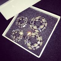 Korea chic and elegant temperament mixed crystal earring