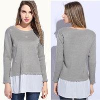 XL-5XL 2015 Spring Fashion Ladies Big Size XXXXXL Beads Knit Cotton Patchwork Long Loose Peplum Shirts Blouses 3 Colors