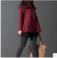 Women Jacquard Stand Collar Bottoming Blouse Long Sleeve Autumn Spring Loose A shape Shirt  2015 New Design M-2XL
