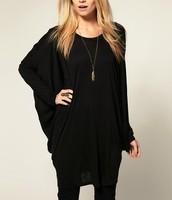 Free shipping 2015 new  European and American women l ultra-wide long-sleeved T-shirt shirt bat loose knit T-shirt  QZ2562