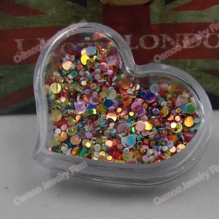 Nail Art Mixed size colors Round Rhinestones 5packs Nail Glitter Tip Gems Heart Clear Box DIY apprpx 2000pcs 5grams/pack 093(China (Mainland))