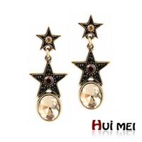 Ethnic Big Crystal Stone Pendant Vintage Copper Star Statement Drop Earrings Bijoux for Women Girls