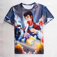 (Alice)free ship COOL wholesale 2015 summer Women/Men t shirt cartoon cat print short-sleeve casual 3d t-shirt top tees1822