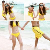 Free ShippingHot Sales Cute Women Men Yellow Smiley Pattern Love Couple Bikini Suit Swimsuit