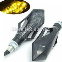 2x  9 LEDS BlackMOTORCYCLE MOTORBIKE TURN SIGNAL INDICATOR LIGHT AMBER LAMP UNIVERSAL