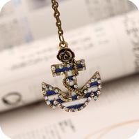 OMH wholesale 6pcs off 24% = $0.9/pcs Vintage Rose Anchor Crystal Pendant Alloy Link Chain Men Women Unisex Necklace  XL138
