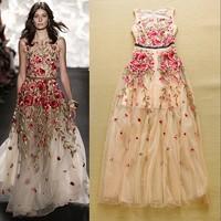 2015 summer women fashion brand designer one piece dress maxi long dress sleeveless embroidery runway dresses prom dress pink