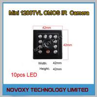 "1200TVL HD 1/3"" CMOS 10PCS LED Night Vision 10M Mini CCTV IR Camera Free Shipping"