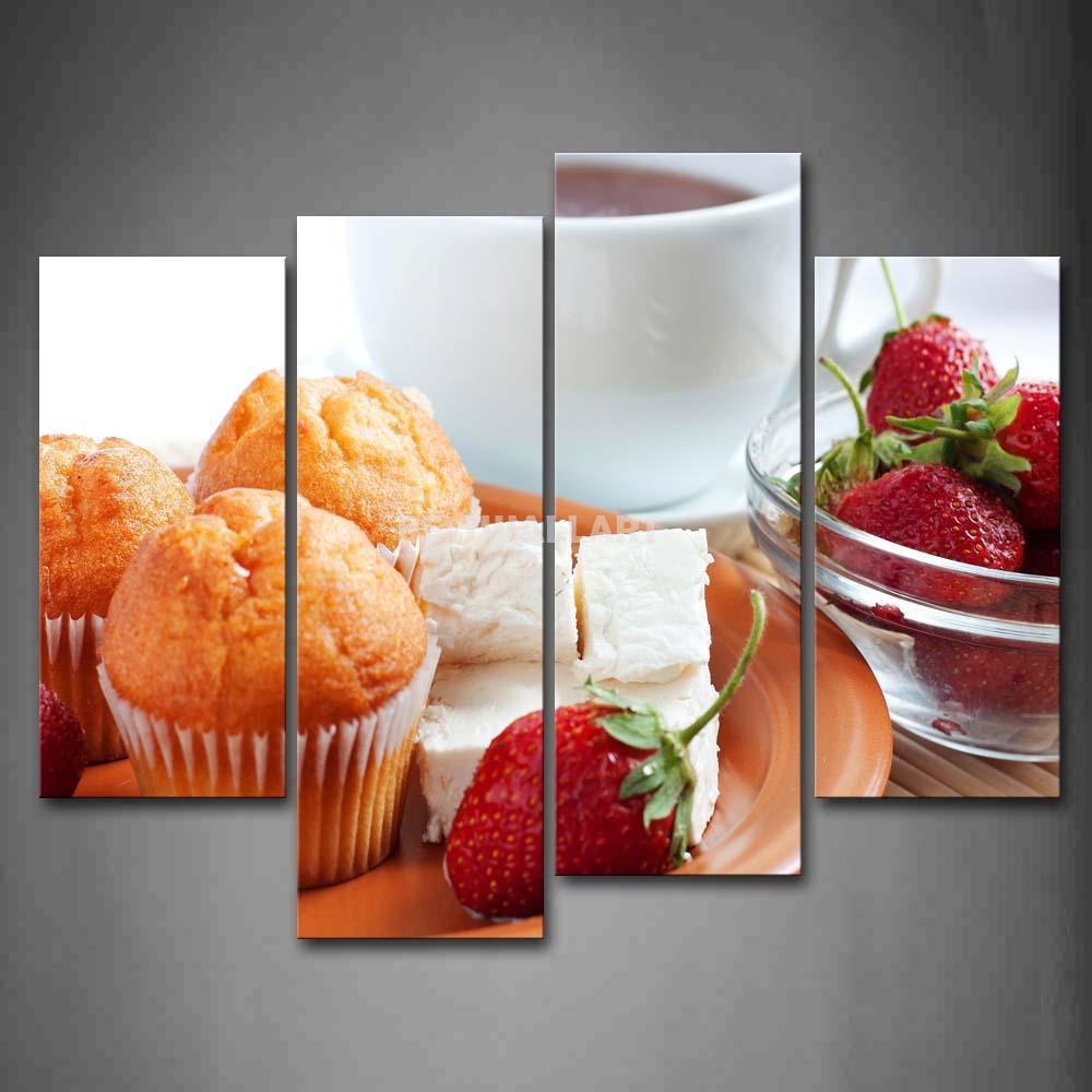 Café da manhã com bolo de morango café 4 peça pintura em Canvas Wall Art imagem imprimir comida 3 5 a imagem(China (Mainland))