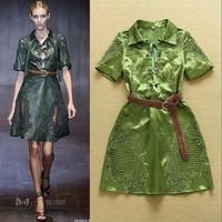2015 summer women short sleeve one piece dress brand designer dress Carved large size runway dress green shirt dress XL