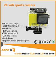Sports Action Camera Full HD DVR Sport DV 2K resolution Helmet Waterproof Camera 2 inch G Senor Motor Mini DV 170 Wide Angle