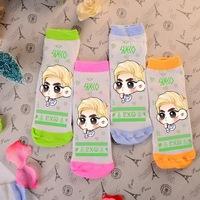 Wholesale cute kawaii Suho candy color four colors green orange pink blue girls' sock cotton kpop k-pop socks
