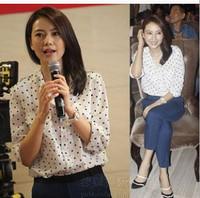 Hot Sale 2015 Summer Korean Fashion Girls Chiffon  Blouses Tops Dress Loose Long Sleeve Shirt Casual Polka Dot Blouse