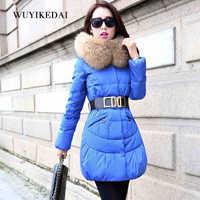 2014 Winter Thicken Warm Woman Down jackets Coat Parkas Outerweat Luxury Long Slim Raccoon Fur collar Hooded Plus Size 2XXL Blue