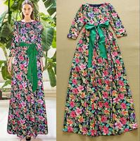 Europe Brand High Street Fashion 2015 Women's Elegant Vintage Floral Printing Plus Size Long Maxi Dress Casual Boho Maxi Dresses
