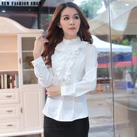 Spring Autumn Fashion Long Sleeve Lace Blouses Red White OL Elegant Ladies Office Female Shirts 2015 Plus Size Women Tops 6246
