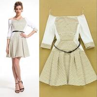 2015 summer women one piece dress half sleeve brand deisgner dress large size runway dresses off the shoulder mini dress white