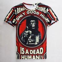 free shipping Raisevern 2015 casual men t shirt letter/orangutans print 3D t-shirt hip hop rock t shirt mens boy brand clothes