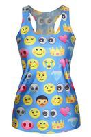 2015 Sexy Sleeveless Blouse Shirt Emoji Print Light Blue Top LC25403 Vest Sleeveless T-Shirt Summer Dress roupas femininas