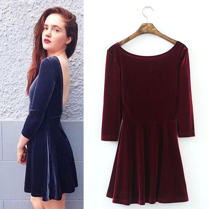 2015 Women Lady Fashion Velvet Dress Black Wine red Navy Backless Velvet Dresses Three quarter sleeve Crushed Velvet(China (Mainland))