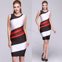 Fashion Sexy Elegant Women Summer Sleeveless O-neck Sheath Slim Geometric Knee-length Dress Women Vestidos