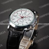 Brand New White Round Dial Relojes Male Analog Quartz Casual Dress Clock Wrist Fashion Men's Black Leather Strap Watch / PHN060