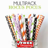 250pcs Mixed 5 Designs HOCUS POCUS Themed Paper Straws -Halloween Party Orange, Black,Purple Chevron Dots Damask Chevron Stripe