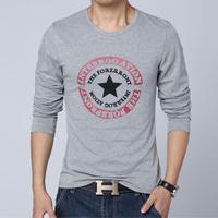 2015 new Spring Men long sleeve O-neck t shirt Fashion Men Star Printing T-shirt casual slim cotton t-shirt Men 5 colors