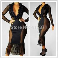New Fashion Tassel Design Sexy Deep V Neck Stylish See Through Long Sleeve Club Party Dress Ruffles Sexy Sheath Evening Dress