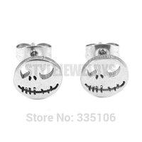 Free shipping! Silver Jack Motor Biker Skull Earrings Stainless Steel Jewelry Cool Motorcycles Biker Earring Studs SJE370133A