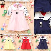 Sweet Baby Girls Lapel Soft Cotton Dress Polka Dot Long Sleeve Tutu Dress 2-4Y