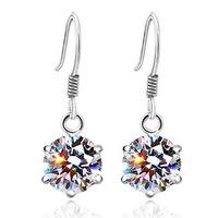100% Sterling Silver Jewelry Classic Six-Claw Swiss Drop Earrings Gemstone Jewelry Silver Earrings Top Quality!!