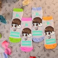 Wholesale cute kawaii DO D.O. candy color four colors green orange pink blue girls' sock cotton kpop k-pop socks