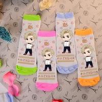Wholesale cute kawaii Exo Kris candy color four colors green orange pink blue girls' sock cotton kpop k-pop socks