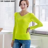 Blusas Femininas Fashion Casual Mesh Organza Elegant Ladies Tops Blouses Plus Size Basic T-Shirt Women Long Sleeve 2015 (6256)