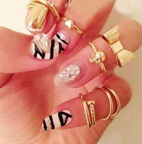 7PCS Clever Urban Crystal Plain Above Knuckle Ring Set Band Midi Fashion Ring Gold SA-005(China (Mainland))