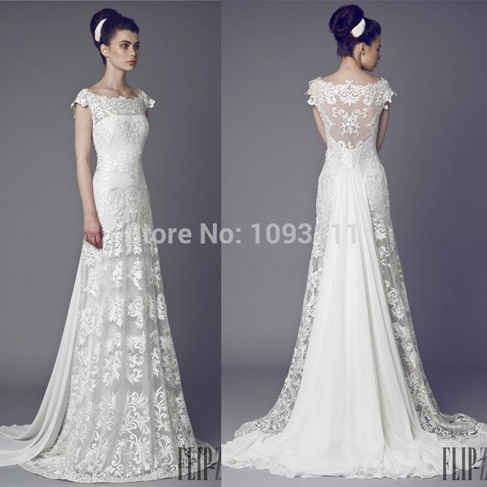 Romantic Lace Wedding Dresses A Line Scoop Short Sleeve Sweep Train Tony Wards 2015 Free Shipping(China (Mainland))