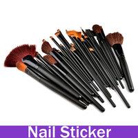 Professional 32Pcs Makeup Eye Shadow Lip Brush Set Wood Black Handle Black Tube Kit Case Multi-Function Facial Brush Set