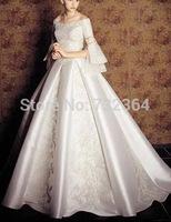 long sleeve beading medieval princess wedding dress vintage European royal style wedding dress