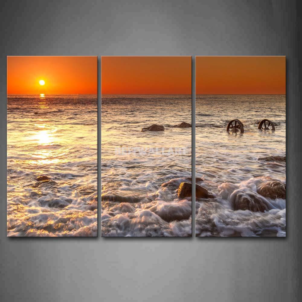 Ondas do mar eo pôr do sol 4 peça pintura em Canvas Wall Art imagem imprimir Seascape 3 5 The Picture Home Decor impressões petróleo(China (Mainland))