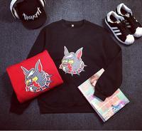 2015 Fleece hoodies women harajuku dog printed cartoon sweatshirt pullovers couple clothing black hoodie sweatshirt Nora15779