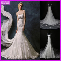 Custom Made Real Sample Sexy Backless Crystal White/Ivory Lace Mermaid Wedding Dresses With Removable Cathedral Train MY-007