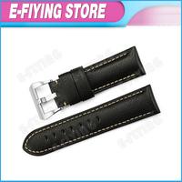 Handmade 24mm Padded Genuine Leather Watchband Strap 22mm Pre-v Buckle  for Panerai Mens Wrist Bracelet Belt Black Color