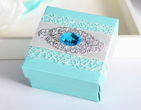 100pcs Europe Style Blue  Wedding Favor Box gift box candy Box