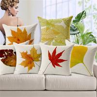 Maple Leaf Print Cushion Covers For Sofa Autumn Ikea Contton Linen 45*45cm Decorative Car Seat Cushion Case Pillow Cover SMC284T