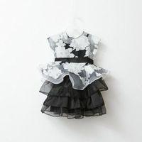Baby Girls Floral Dress Net Tops+Strap Dress Set Kids Infant Dress One-piece New